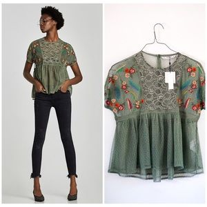 NWT Zara green lace detail floral blouse small🌸